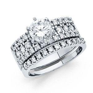 Jewelry - 4-Row Round Fishtail Engagement Ring wedding band